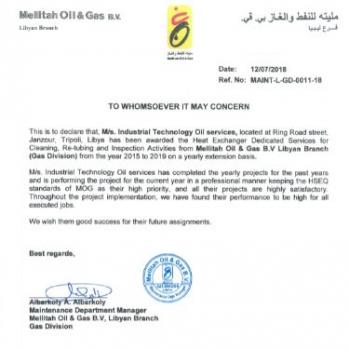 Testimonial from Mellitah Oil and Gas B V Libyan Branch | Intech
